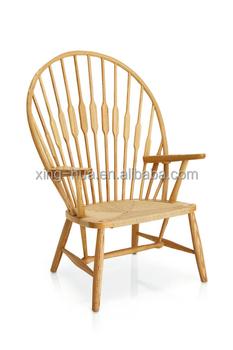 Natural Design Wooden Frame Woven Seat High Backrest Leisure Chair
