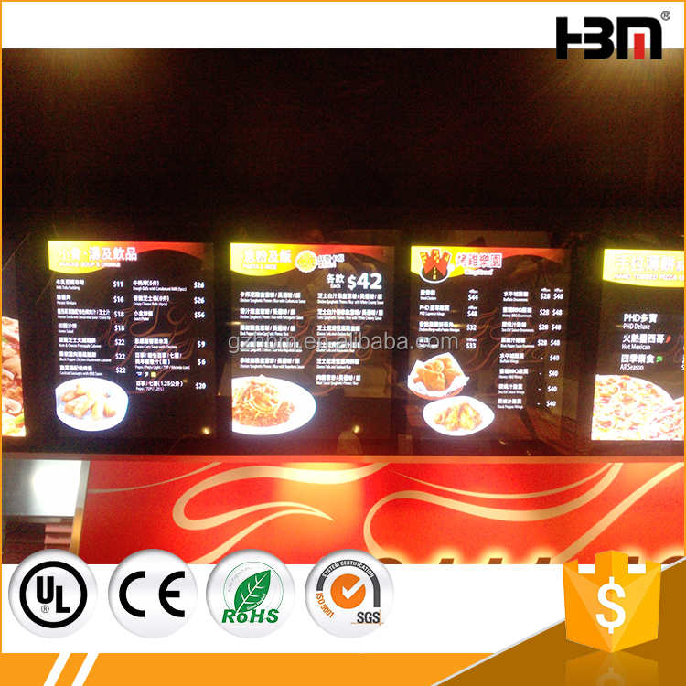 Wholesale advertising display menu slim LED magnetic light box