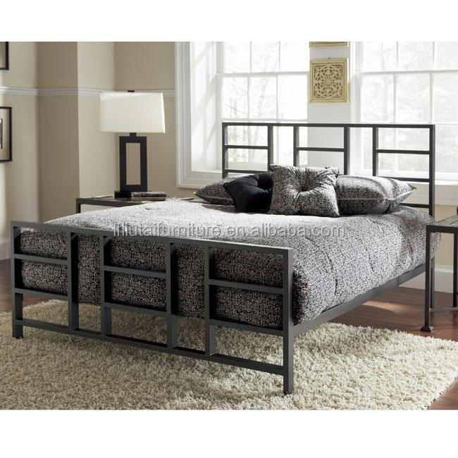 Square Tube Headboard Strong Metal Bed Frame For Usa