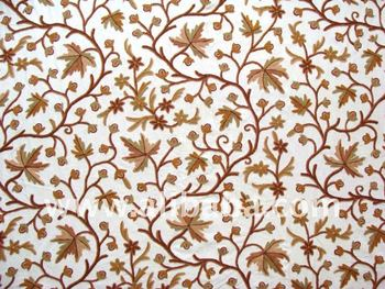 Kashmir Crewel Hand Embroidered Wool On Cotton Upholstery Fabric