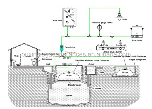 Chinese Puxin Small Household Cooking Fuel Application Biogas ...