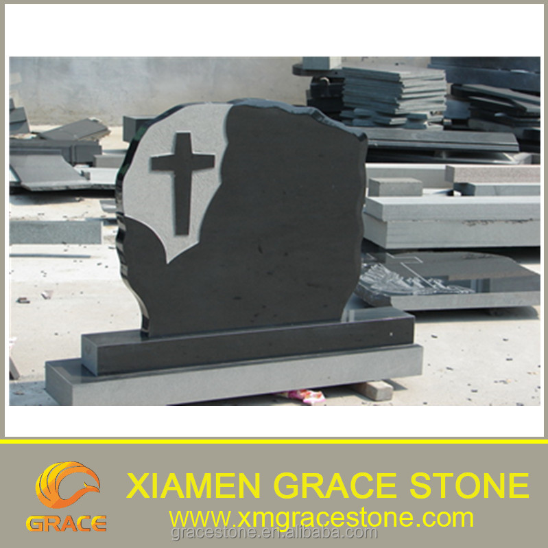 High Quality China Black Granite Cross Carved Monument / Tombstone / Headstone