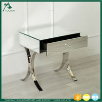 Venetian Mirrored One Drawer Curved Leg Bedside Table Silver Mirror Bedroom Modern Besdie