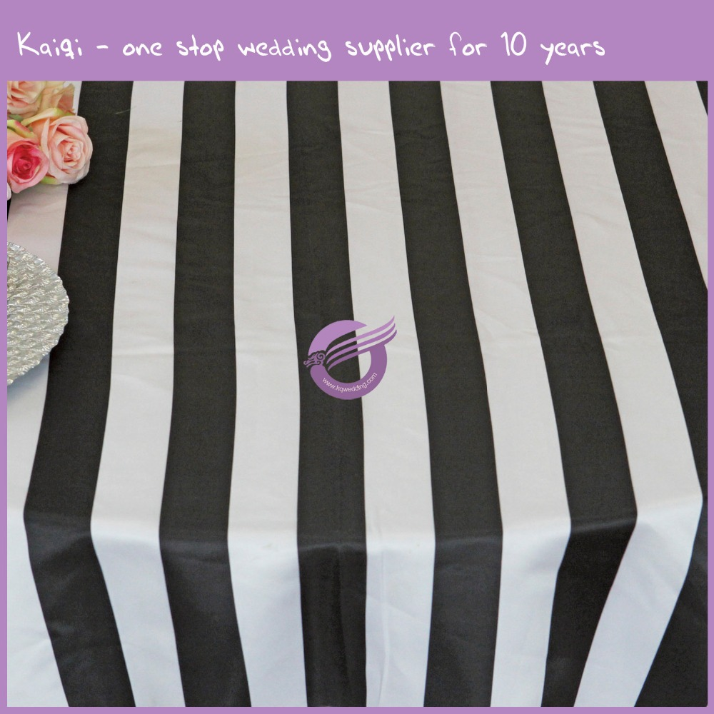 MY4278G 5CM white and black stripe satin round tablecloth for wedding
