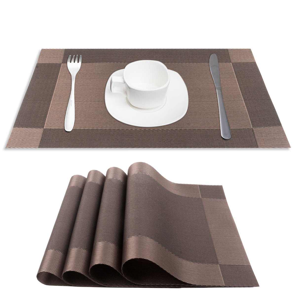 PVC Place Mats, CSYS Heat Insulation PVC Placemats Stain Kitchen Tool Tableware Pad Coaster Coffee Tea Place Mat Decorative Vinyl Placemats for Dining Table (Blown)