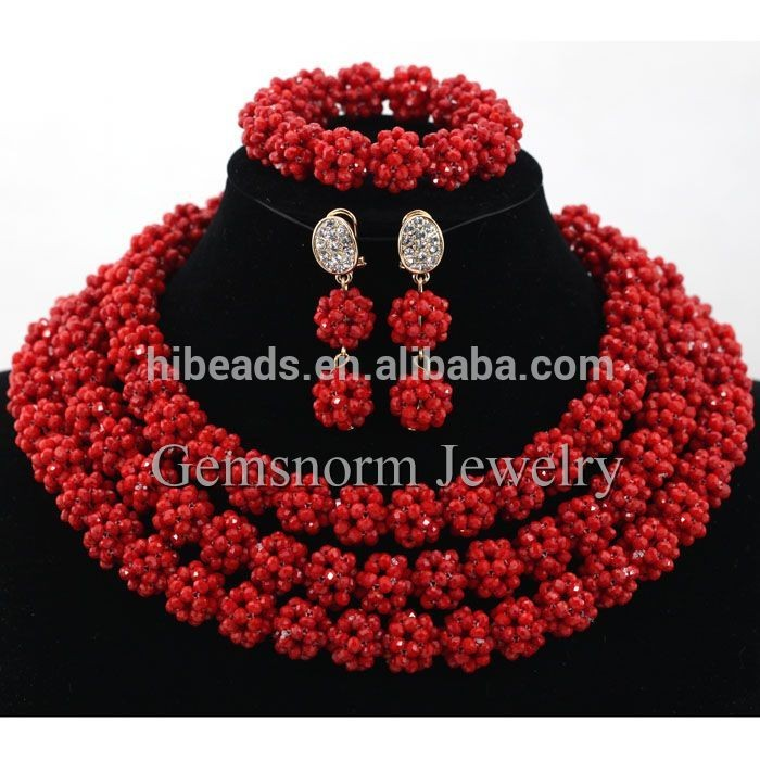 18 K Gold Plated African Jewelry Sets Wedding Coral Bib Statement ...