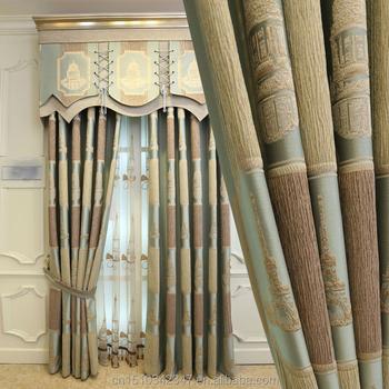 Blue Exotic Classic Curtain Jacquard Fabric Curtain Most Beautiful