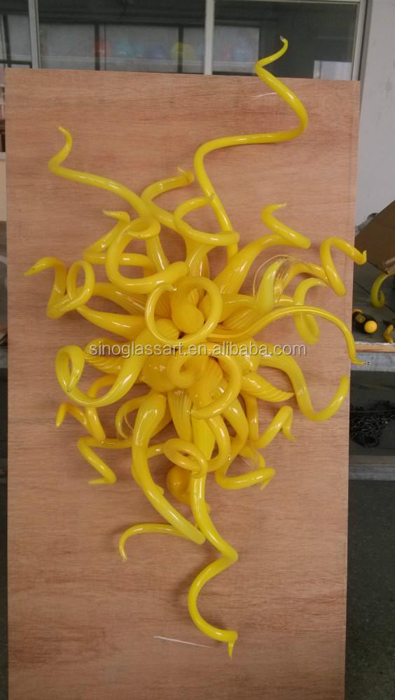 Yellow Art Glass Wall Sculpture Lamp Blown Glass Wall Art - Buy ...