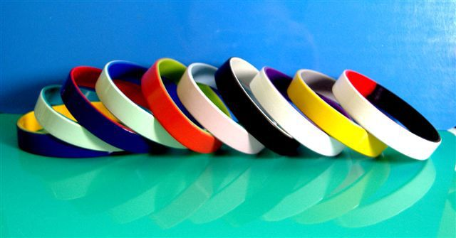 Color Coated Silicone Wristbands, 2 layers painted silicone wrsitbands