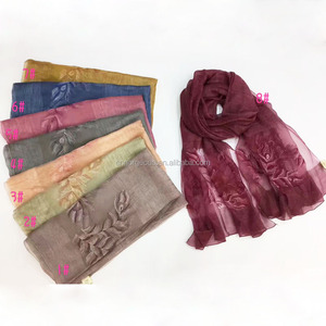 Feather Embroider Stole Silk Wool Blended Scarf