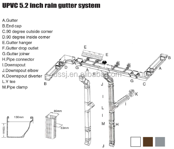 Building Construction Material Pvc Rain Water Gutters Roof