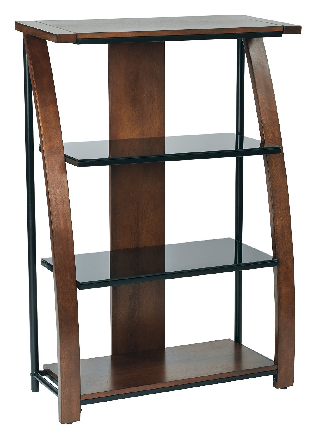Office Star Emette Bookcase With Two Black Tempered Glass Shelves, Black Powder Coated Frame, and Cherry Finish Wood Accents