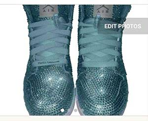 Custom Nike Shoes, Baby Blue Nike Swarovski, Rhinestone Nike Shoe, Baby Blue Nike, Trisha Paytas Nike Shoes, Blue Nike Crystal Shoes