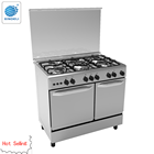 Multifunctional 90*60 freestanding gas cooker range with 5 burner and double oven for kitchen using