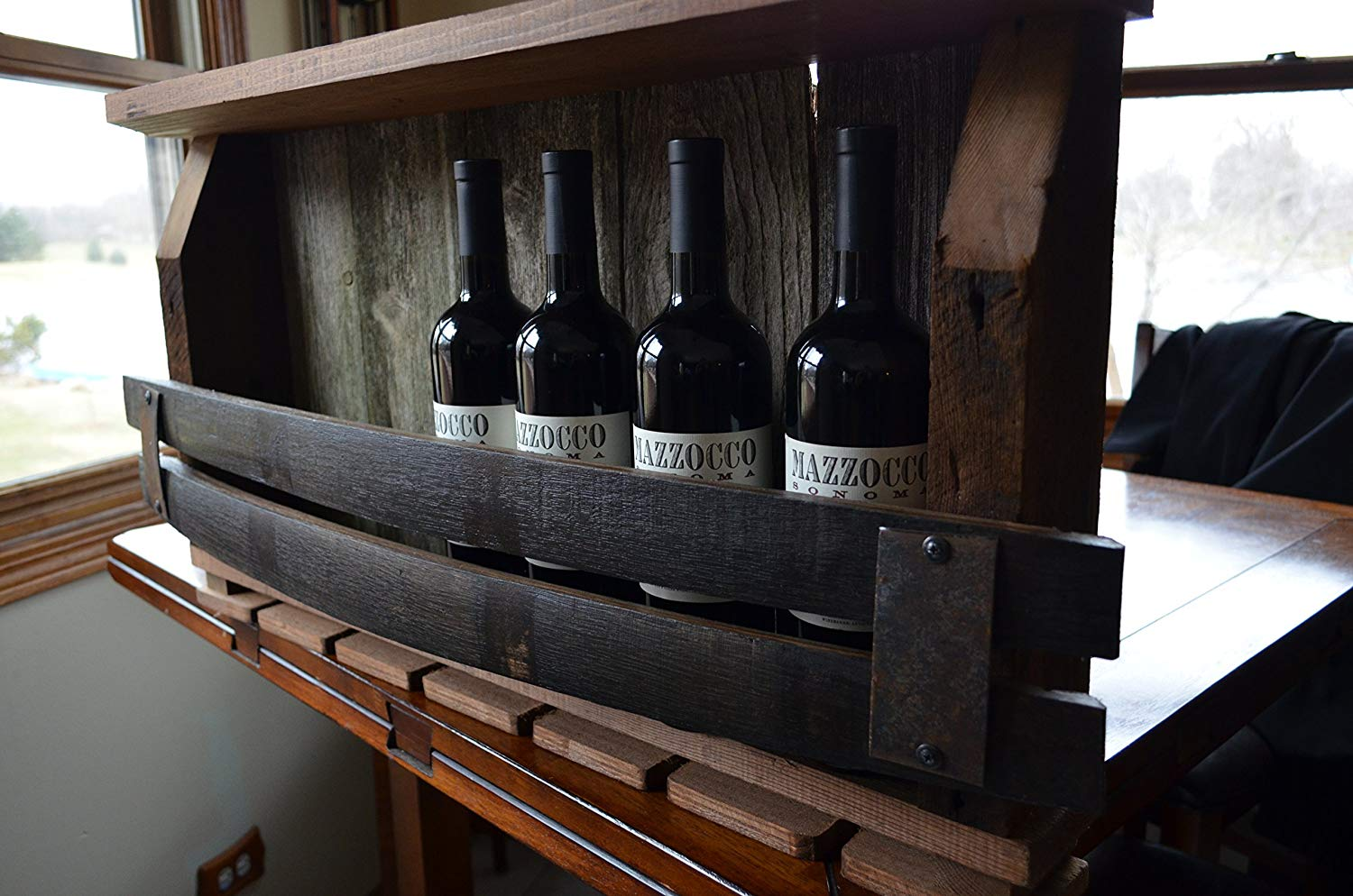Barn Wood Wine Rack - with Whiskey barrel staves