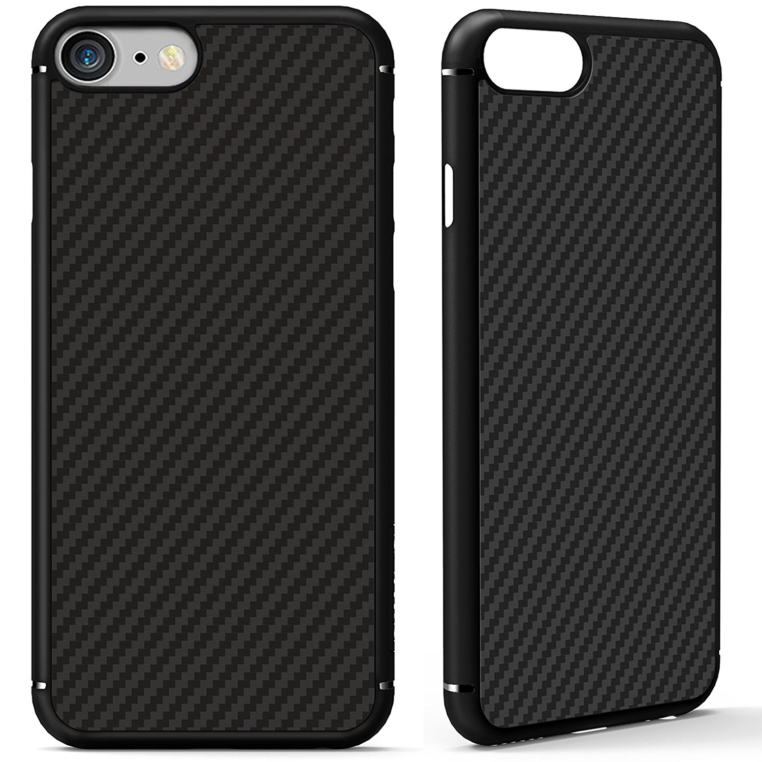 iPhone 7 Case, Nillkin [Black] Super Slim Smooth [Carbon Fiber] Armor Case Cover for iPhone 7 4.7-inch, Anti Fingerprints Built-in Metal Plate, Compatible with Magnetic Car Mounts