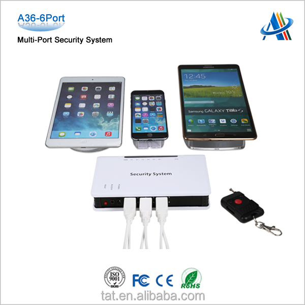 Merchandise Display Security Alarm System For Mobile Phone Tablet A36 6port
