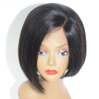 High quality 8 inch virgin indian human hair bob full lace wig m size cap