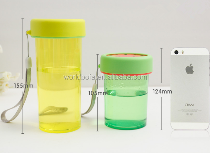 BPA free plastic sport drinking water bottle fruit cup for kids