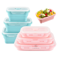 FREE SHIPPING 800ML Silicone Lunchbox BPA FREE