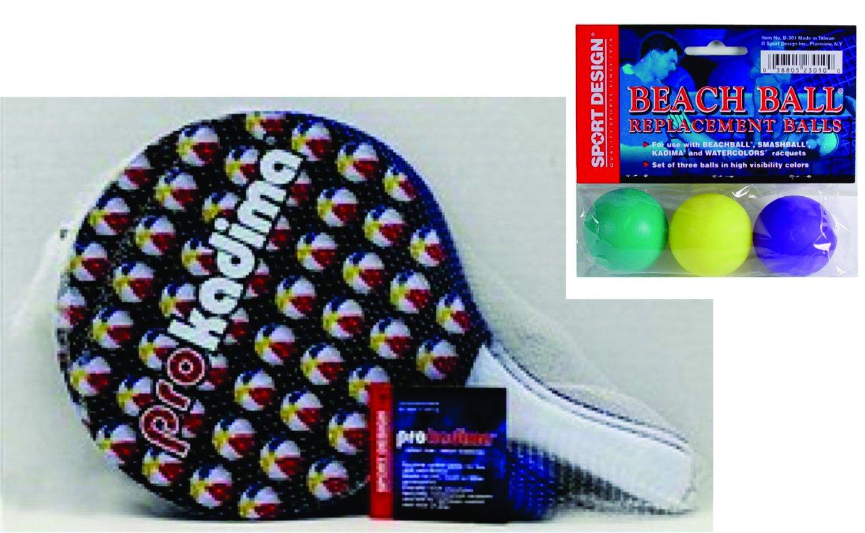 Pro Kadima: Paddle Ball Set with Replacement Beach Balls- Beach Ball Design