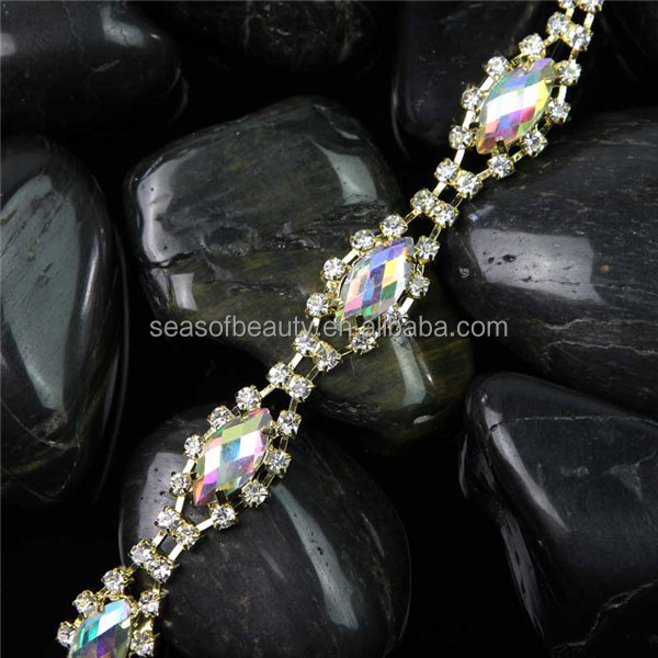 Sewing on AB Color Rhinestone Chain Trim Seasofbeauty 888 Stones