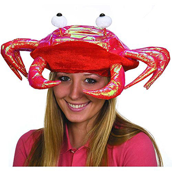 halloween funny crazy cheap hot sale metallic red crab hat for party