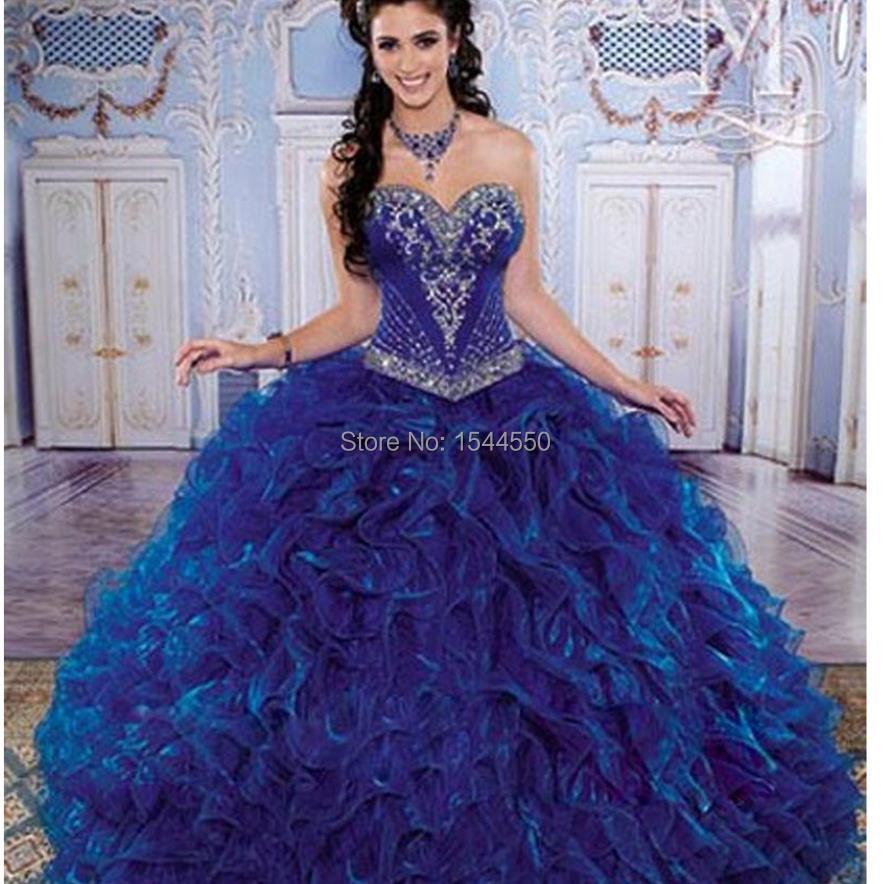 Free shipping Fashion dress honey Royal blue wedding dress ...