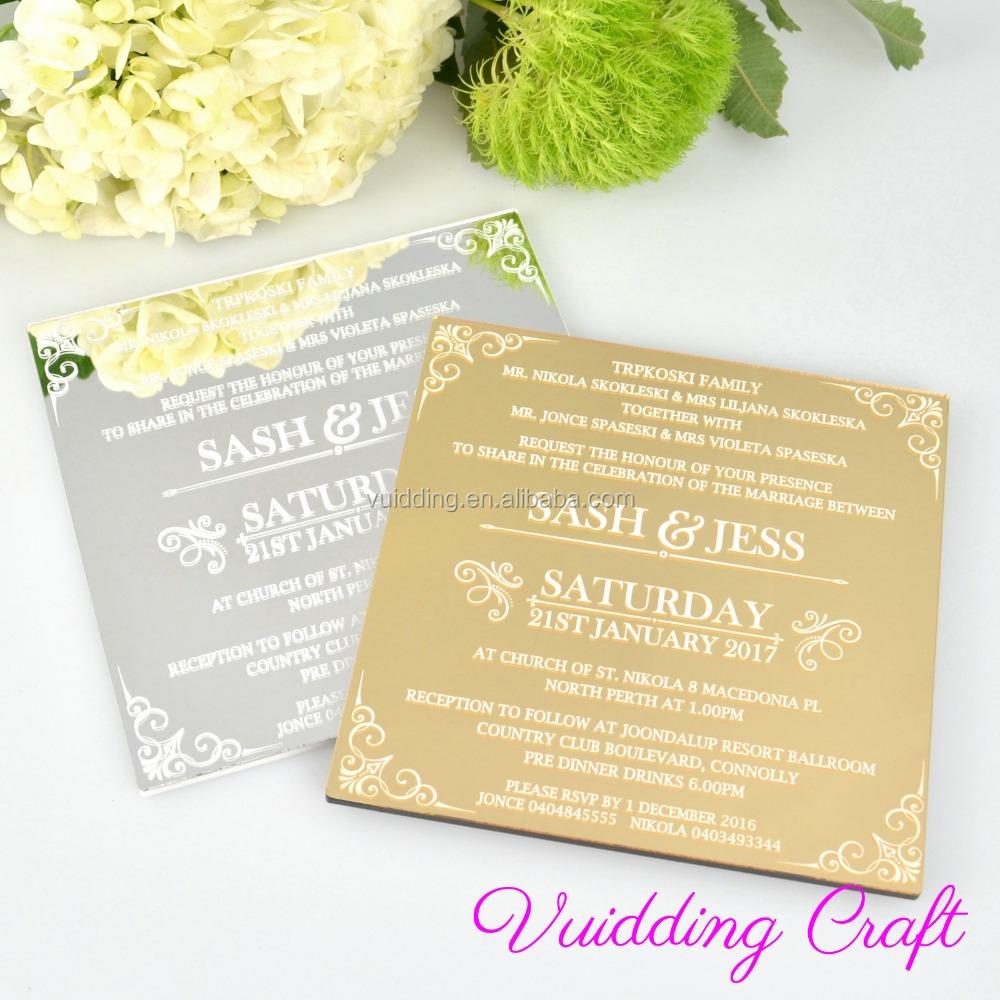 Mirror Acrylic Gold Wedding Invitation Card For Fancy Wedding Favor Buy Gold Wedding Invitation Card Gold Wedding Invitation Card Gold Wedding