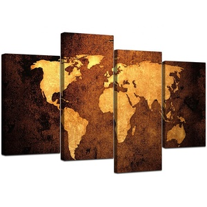 4 piece world map canvas wall art by 100 hand painted oil within world map wall art canvas