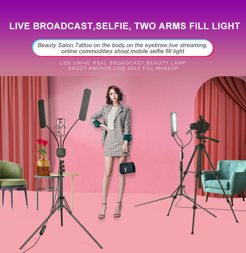 RK39 60W 3200k-5500k Dual arm Photography studio Makeup LED Beauty Fill ring light for webcast live streaming