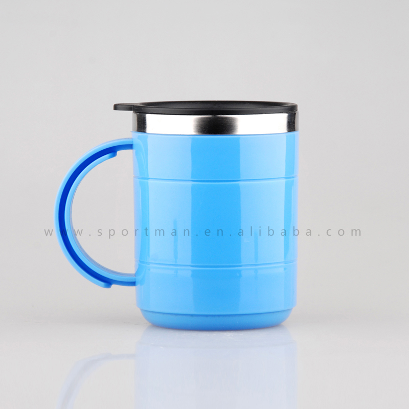 Plastic insulated double walled travel coffee mugs wholesale