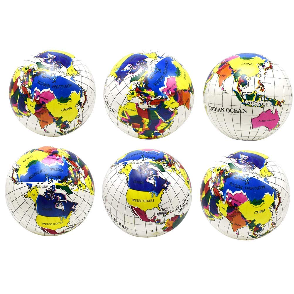 YeahiBaby 6pcs Inflatable Globe Ball Summer Funny Water Fun Play Beach Ball Pool Ball Party Favor for Kids