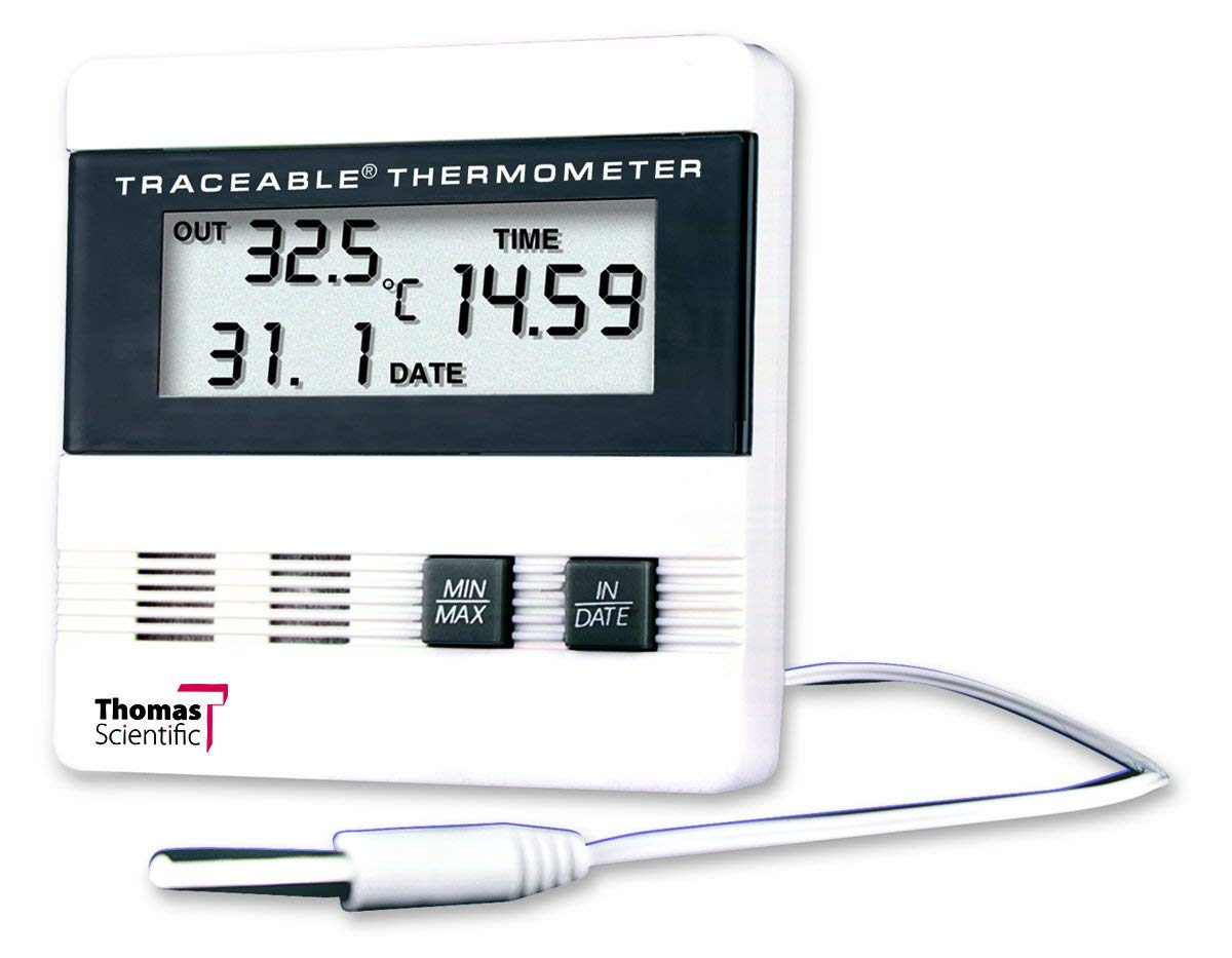 Thomas Traceable Recording Thermometer, with Time/Date/Min/Max Memory, -40 to 176 degree F