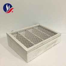 Wire Mesh Lid 4 Compartments Ornament Storage MDF Wooden Box