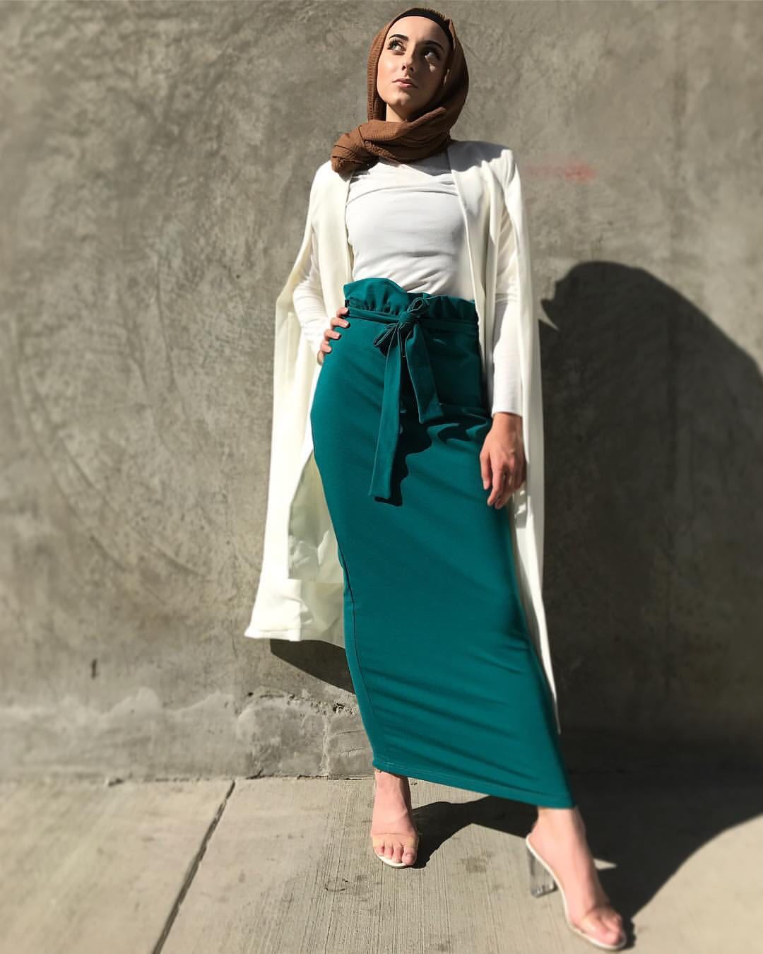 New fashion muslim long skirts heavy jersey maxi skirts