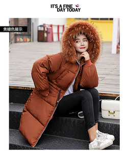 2019 Coats Artificial raccoon hair collar Female Black Thick Cotton Padded Lining Ladies S-3XXXL Winter Jacket Women