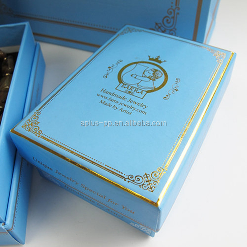 12x9cm Hard Paper Made Boxes Pantone Color Printed Gold Foil Packaging Sky Blue Jewelry Box