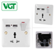 Green and eco-friendly 5-year warranty time 13 amp 1 gang 5 pin switched socket, eu wall usb power socket