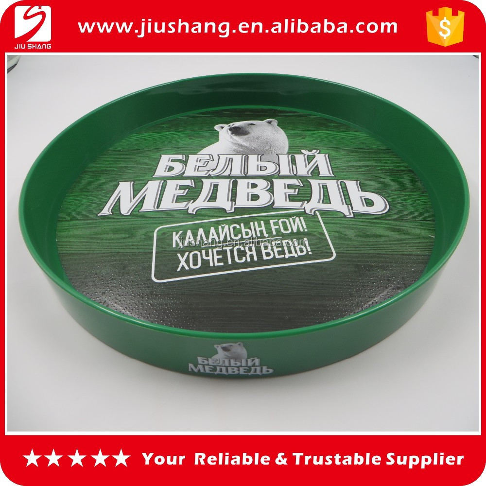 High quality round plastic bar serving tray on sale, custom design anti slip tin beer tray with silk printing, fashion bar tray