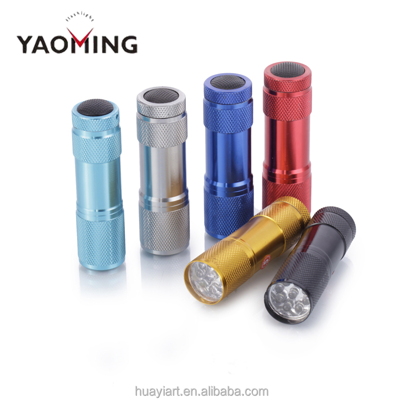 Aluminum Alloy UV 3 LED Flashlight 9 LED Flashlight YM-809B Mini portable Torch for Promotional Gift