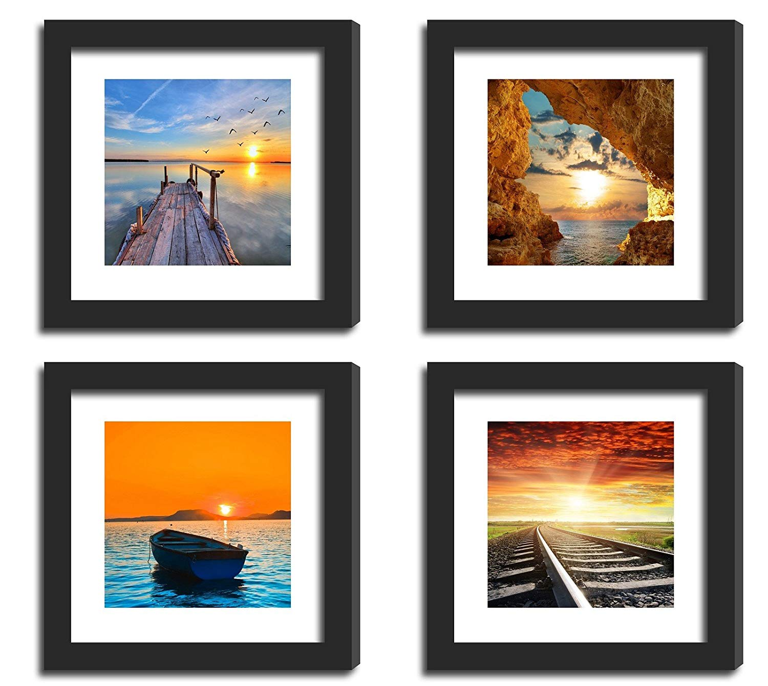 "4Pcs x Real Glass Wood Frame Black Fit 11x11"" , 2 Matted Fit Photo Pictures Photo 8x8"" 4x4"" Desktop Stand or Wall Hang Family Pier Sunset Jetty Combine Square Decoration (5-8)"