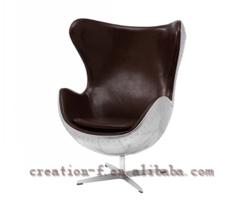Beau Modern Leisure Chair Living Room Vintage Genuine Leather Arne Jacobsen Egg  Chair Replica Aluminum Egg Chair