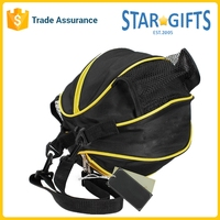 Black Lightweight Polyester Zip Basketball Football Valley Ball Storage Bag With Side Water-Bottle Pouch