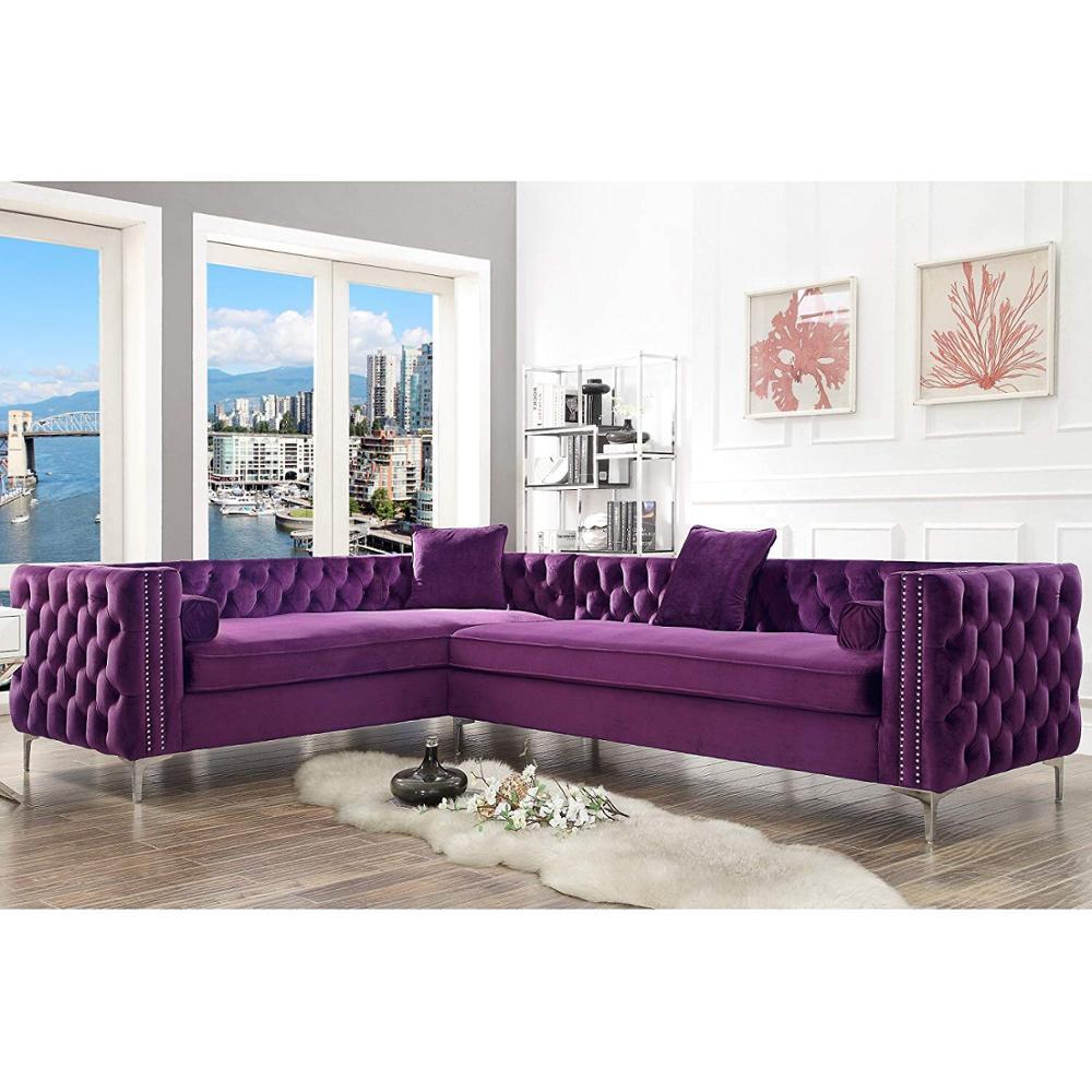 Deep Purple L Shape Living Room Sofa Modern Design European Style