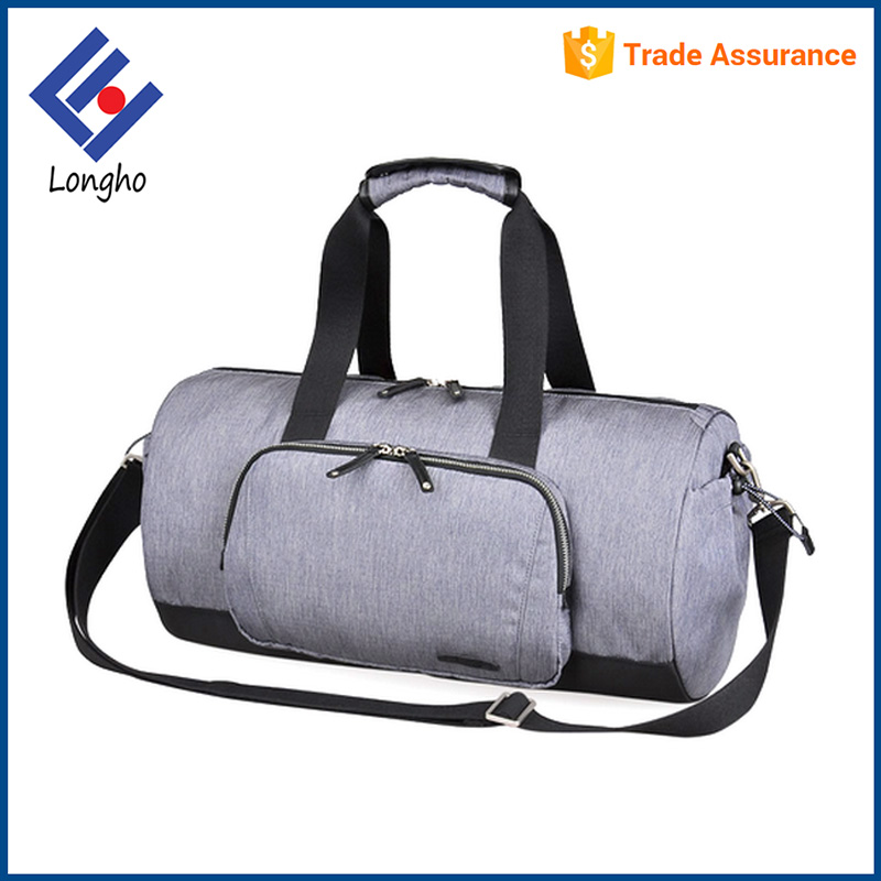 New design elastic side pouch barrel duffel bag ripstop, snaps grab handle high quality round travel bag