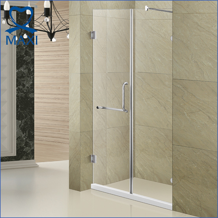 Modern design frameless square corner hinge bathroom sliding glass shower door
