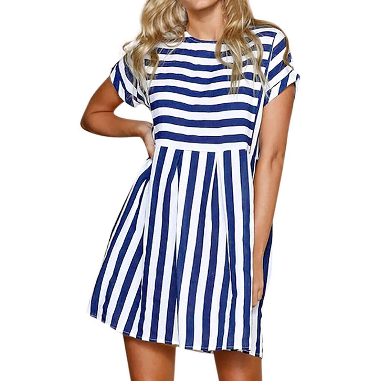 71f29d756d396 FDelinK Women's Short Sleeve Loose Tunic Dress Casual Stripe Summer Beach  Swing Mini Dresses Sundress