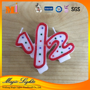 New Arrival Number 1 2 And Printing Dots Birthday Candle