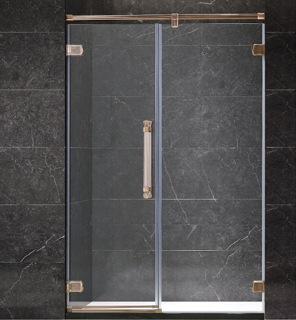 Tempered Glass Frameless Brass Freestanding Hinge Door Shower Door for Bathroom